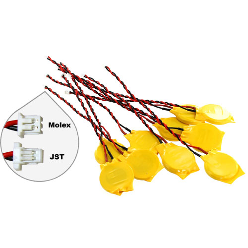 10 pack CR2032 Batteries with Wire Leads (CMOS) - Image one