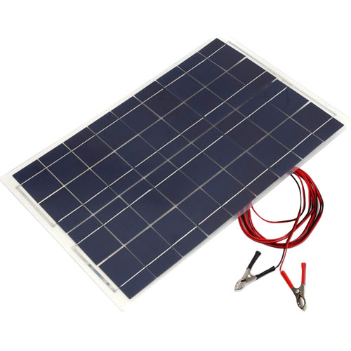 18V 30W Waterproof Solar Panel with Connection Leads - Image one