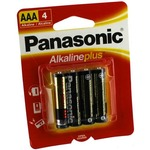4 AAA Panasonic Alkaline Plus Batteries.