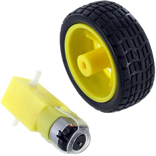 Geared DC Motor and Toy Car Wheel Set - Image one