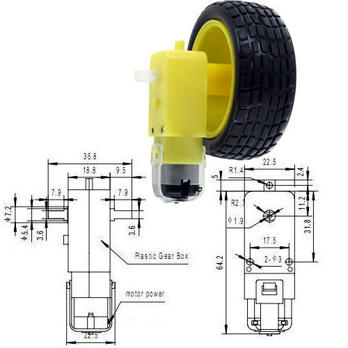 Geared Dc Motor And Toy Car Wheel Set By