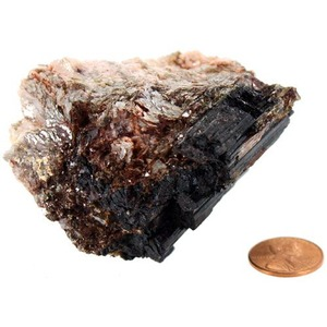 Golden Mica with Tourmaline - Large Chunk (2-3 inch) - Image One