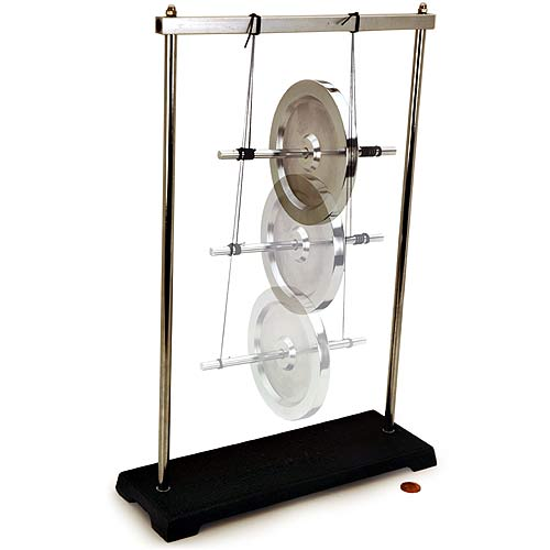 maxwells wheel Apparatus: self-contained description: roll the wheel up the strings and release - the wheel will roll down the strings, stop, reverse direction of rotation, and climb back up clamping the base to a table reduces the energy loss.