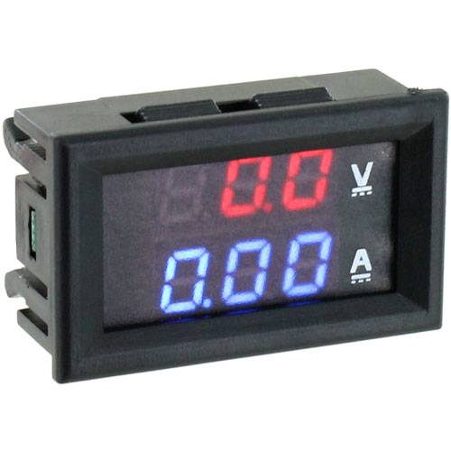 Mini Digital 2-in-1 Voltmeter Ammeter - 100V 10A - Image one