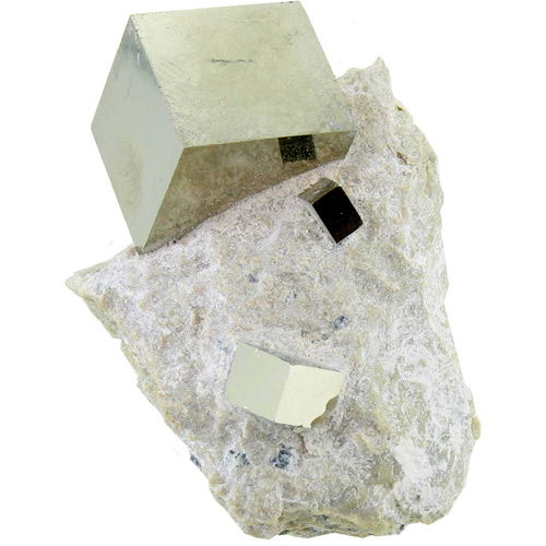 Iron Pyrite Cube in Limestone Matrix - Image one