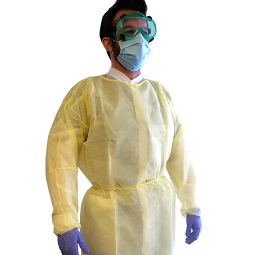 Unigown Isolation Gown - Yellow - Pack of 10 - Image one