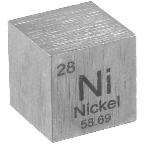 Nickel Metal Cube - 10mm 99.95% Pure  - Image one