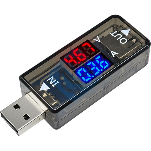 In-Line USB Voltage and Current Meter 3.3-18V 0-3A - Image one