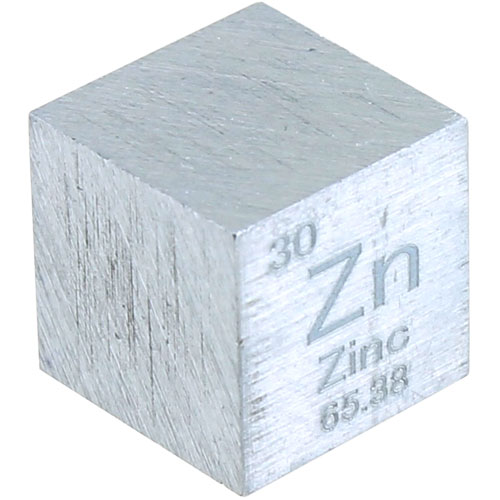 Zinc Metal Cube - 10mm 99.95% Pure - Image one
