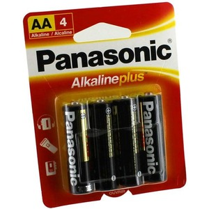 Photo of the: 4 AA Panasonic Alkaline Plus Batteries