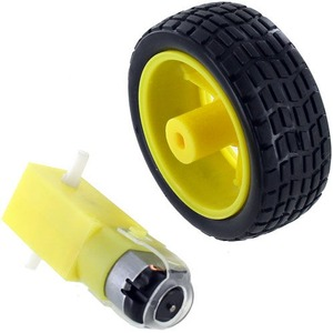 Photo of the Geared DC Motor and Toy Car Wheel Set
